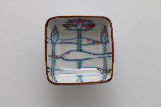 四角 豆皿 鶴と蓮