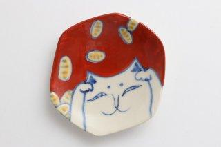 豆皿 猫に小判