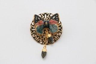 立体陶製 蝶 ブローチ