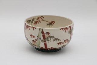 竹にシナモン文鳥 茶碗