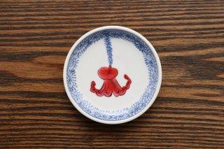 福々 丸豆皿 (福吹くタコ)