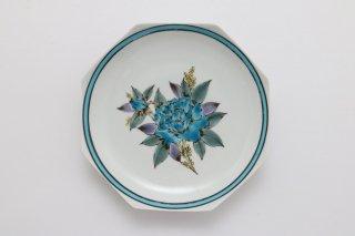 皿 バラ(ブルー)