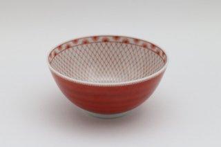 小鉢 赤絵網紋