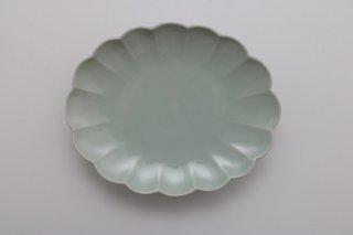 菊楕円皿 6寸 青