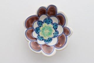 花豆皿 紫×青ドット