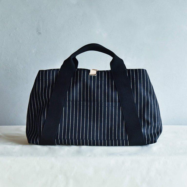 オリジナル帆布トートバッグ<br>L ストライプ×クロ