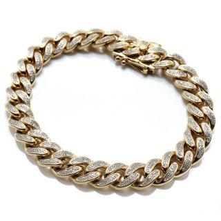 ダイヤモンド 10K イエローゴールド ブレスレット 18.5cm