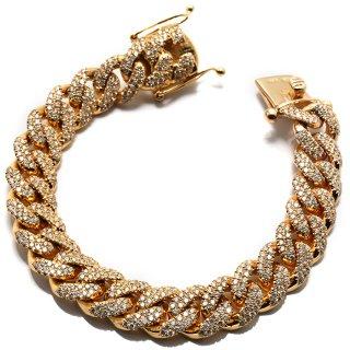 ダイヤモンド 10K イエローゴールド ブレスレット 13mm×20.5cm ※こちらの商品は海外取り寄せ商品の為3〜4週間前後の期間を頂きます