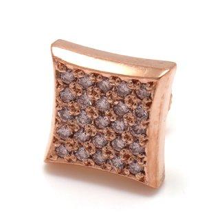 ダイヤモンド 10K ローズゴールド ピアス