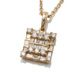 ダイヤモンド 10K イエローゴールド ネックレスセット 45cm