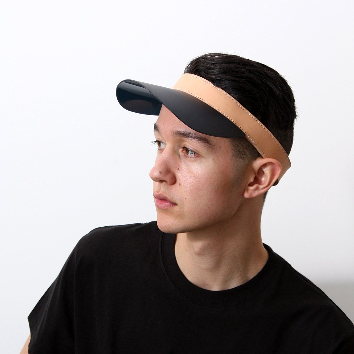VEGETAL LEATHER VISOR WITH PLASTIC SHADE 詳細画像8