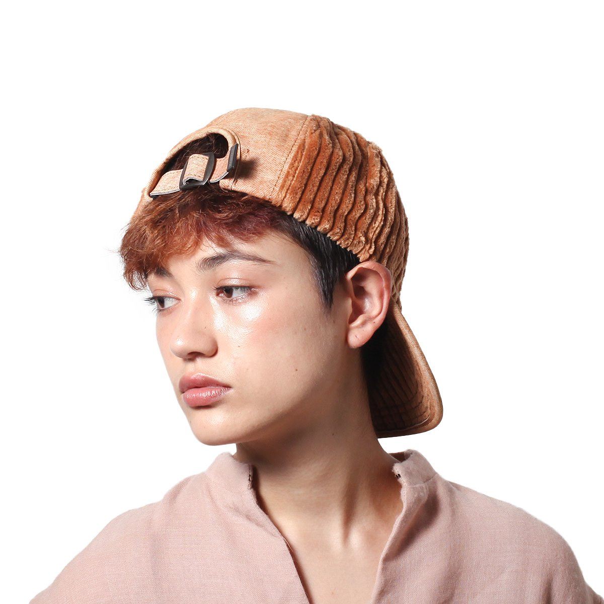 LEATHER COMBI CORDUROY 8PANEL CAP