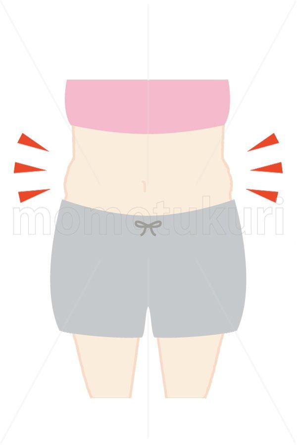 美容-痩せる ダイエット ぽっこりお腹 トップス:ピンク ハーフパンツ:グレー