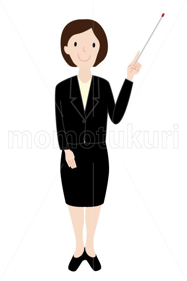 女性 ポイント チェック 注目 指し示す ! 説明 ビジネス(仕事)イラスト3