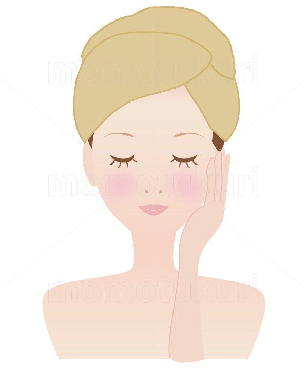 美容-スキンケア 肌  美肌 洗顔 スキンケア  タオルを巻いた女性