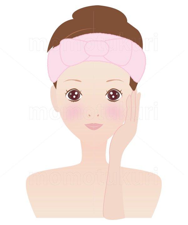 美容-スキンケア 肌  美肌 洗顔 スキンケア  ヘアバンドを巻く女性 11