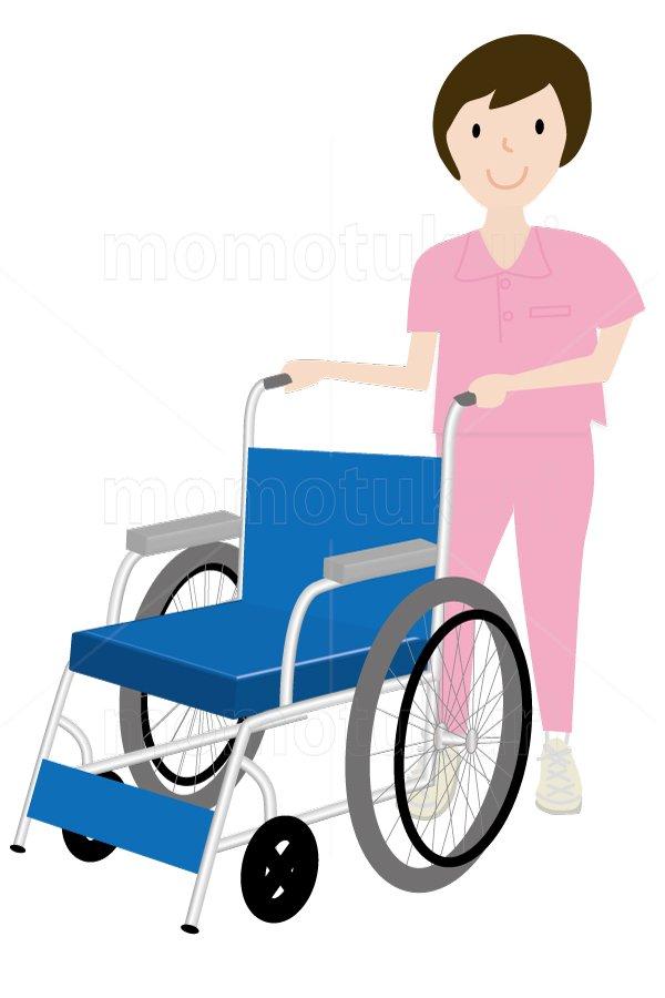 介護  車いすを押す女性 笑顔 イラスト (介護士)