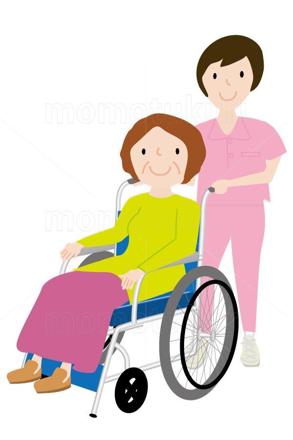 介護  車いすを押す女性介護士   車いすに乗る女性 笑顔 イラスト (介護士)