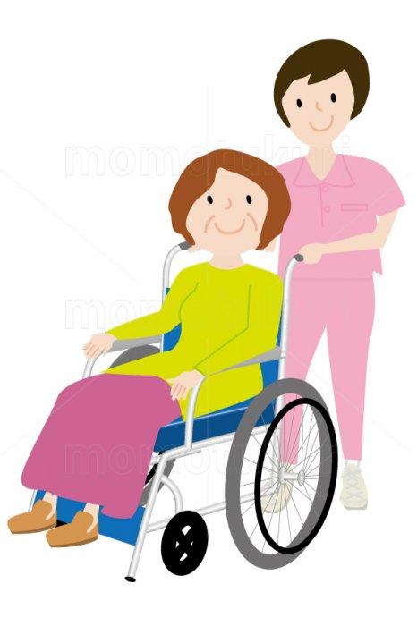 介護  車いすを押す女性介護士   車いすに乗る女性 笑顔 イラスト (介護士)2