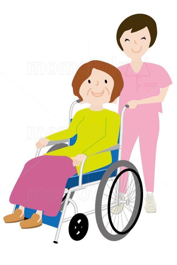 介護  車いすを押す女性介護士   車いすに乗る女性 笑顔 イラスト (介護士)3