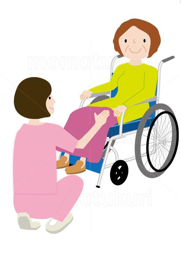 介護  女性介護士     車いすに乗る女性 笑顔 イラスト (介護士)4
