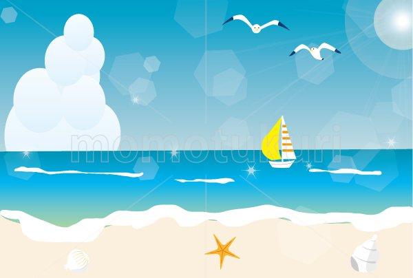 海 夏 浜辺 ビーチ HAPPY SUMMER 暑中見舞い(暑中お見舞い)ハガキ jpeg画像素材 6