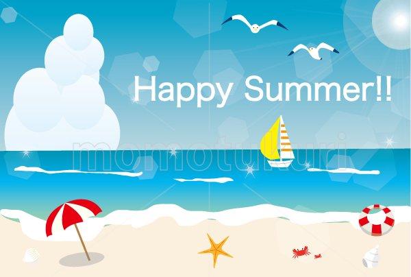 海 夏 浜辺 ビーチ HAPPY SUMMER 暑中見舞い(暑中お見舞い)ハガキ eps素材 9
