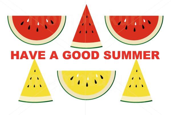 すいか(スイカ) 暑中見舞い 横ハガキ  HAVE A GOOD SUMMER 夏