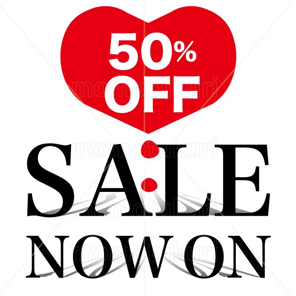 SALE sale セール ハート heart NOW ON SALE 50 % OFF !