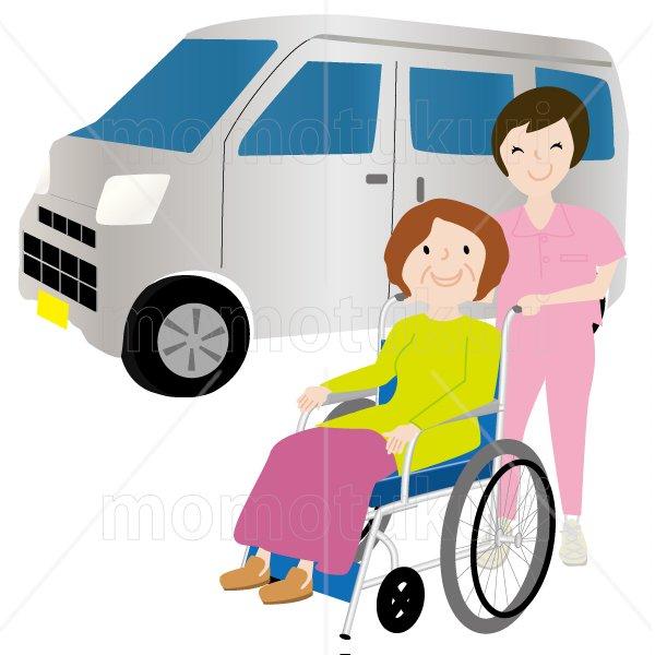 介護  女性介護士     車いすに乗る女性 笑顔 送迎(送り迎え)