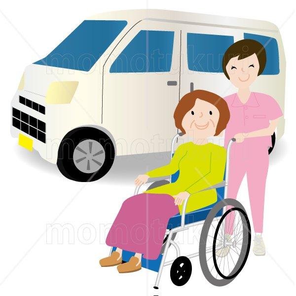 介護  女性介護士     車いすに乗る女性 笑顔 送迎(送り迎え) 2
