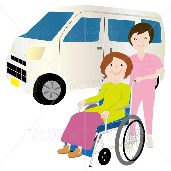 介護  女性介護士     車いすに乗る女性 笑顔 送迎(送り迎え) 3