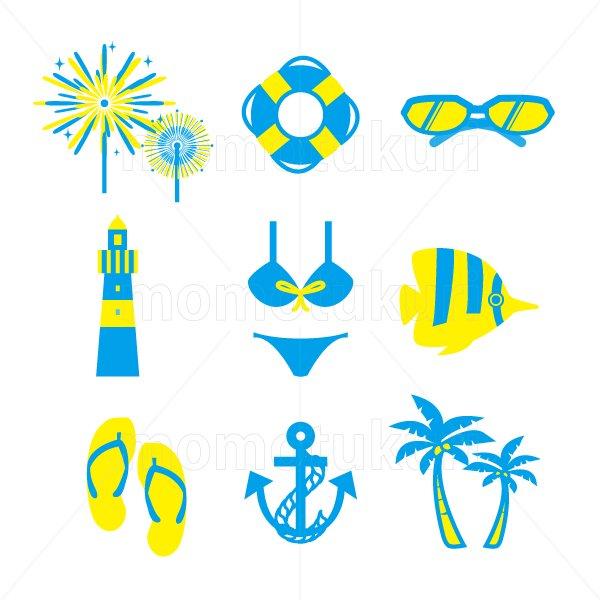 夏 アイコン セットset (花火 浮き輪 サングラス 灯台 水着 ビキニ  ビーチサンダル  いかり ヤシの…