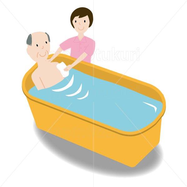 介護  女性介護士     入浴(入浴介助) 老人 おじいさん