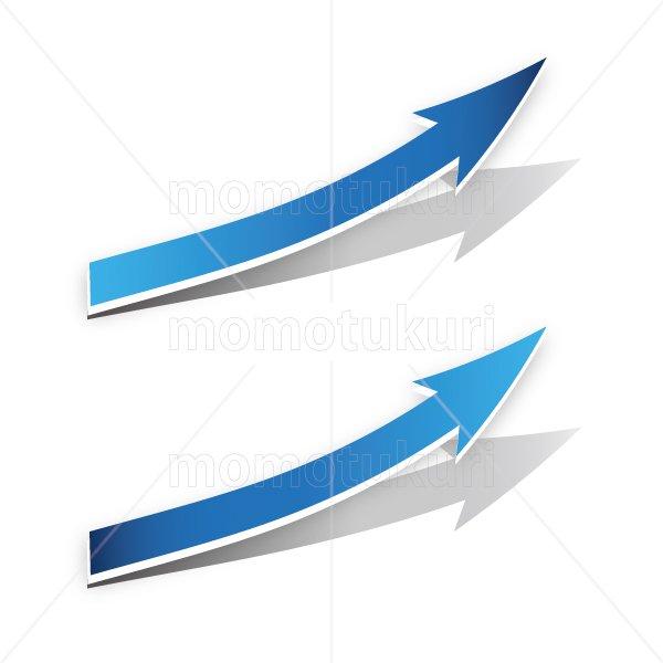 矢印(やじるし、矢じるし)上がる 上向き 上昇 ビジネス  青