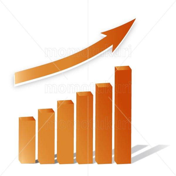 矢印(やじるし、矢じるし)グラフ 上がる 上向き 上昇 ビジネス  赤