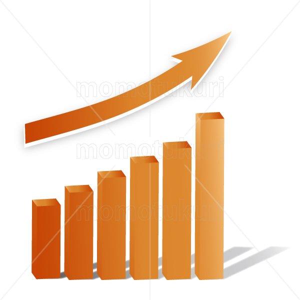 矢印(やじるし、矢じるし)グラフ 上がる 上向き 上昇 ビジネス  赤 2