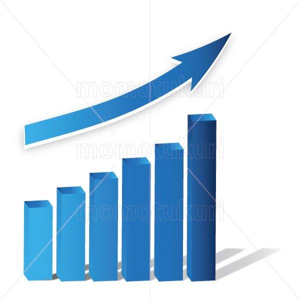 矢印(やじるし、矢じるし)グラフ 上がる 上向き 上昇 ビジネス  青