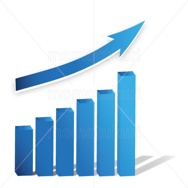 矢印(やじるし、矢じるし)グラフ 上がる 上向き 上昇 ビジネス  青 2