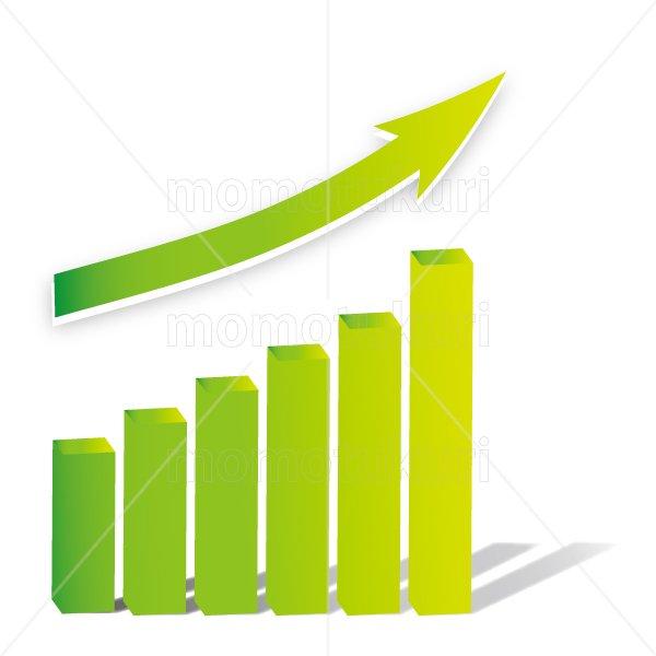 矢印(やじるし、矢じるし)グラフ 上がる 上向き 上昇 ビジネス  緑 2