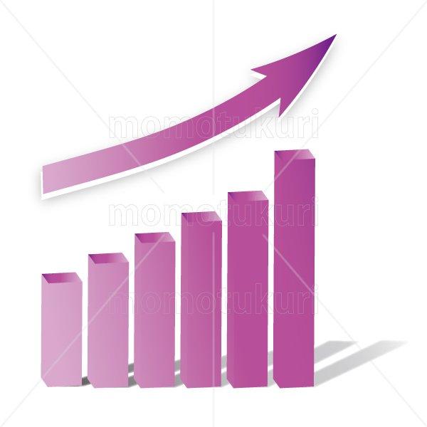 矢印(やじるし、矢じるし)グラフ 上がる 上向き 上昇 ビジネス  紫
