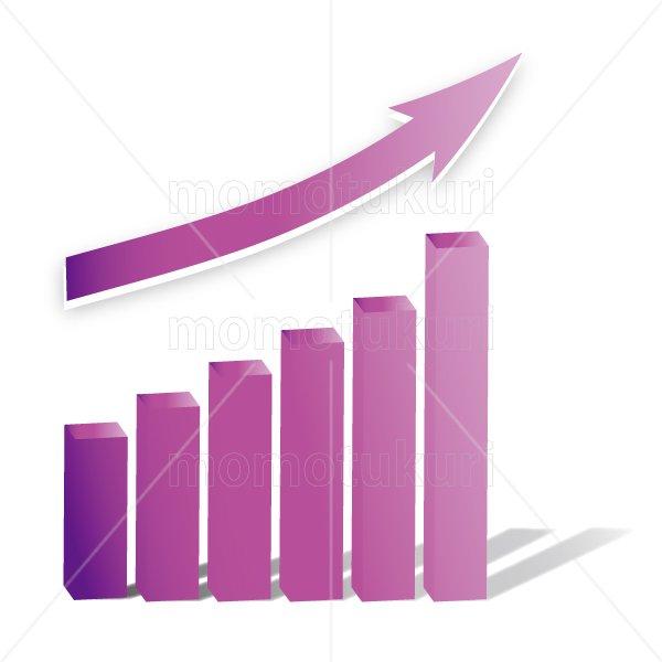 矢印(やじるし、矢じるし)グラフ 上がる 上向き 上昇 ビジネス  紫  2