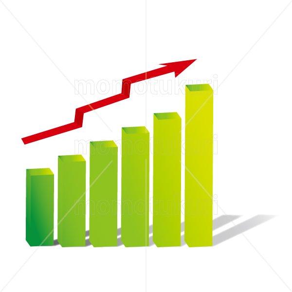 赤い矢印(やじるし、矢じるし)グラフ 上がる 上向き 上昇 ビジネス  緑