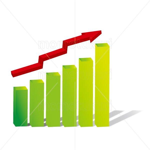 赤い矢印(やじるし、矢じるし)グラフ 上がる 上向き 上昇 ビジネス  緑  2