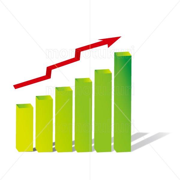 赤い矢印(やじるし、矢じるし)グラフ 上がる 上向き 上昇 ビジネス  緑 3