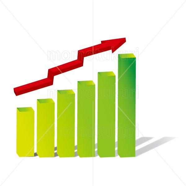 赤い矢印(やじるし、矢じるし)グラフ 上がる 上向き 上昇 ビジネス  緑 4