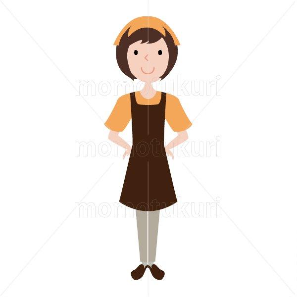 ハウスクリーニング  女性  スタッフ(staff) オレンジ   半袖 おまかせください。腰に手を当てる。