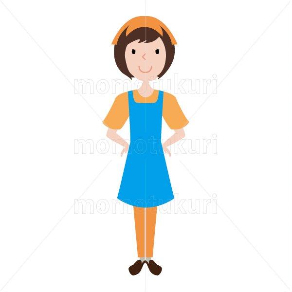 ハウスクリーニング  女性  スタッフ(staff) オレンジ 水色   半袖 おまかせください。腰に手を当て…