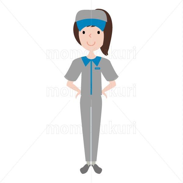 ハウスクリーニング  女性  灰色 半袖 (帽子)おまかせください。腰に手を当てる。