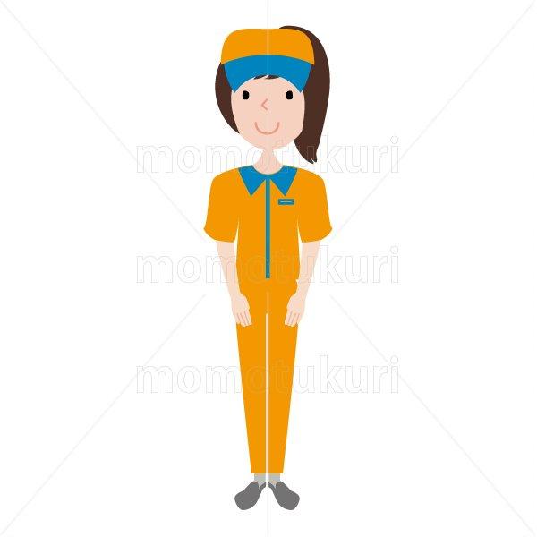 ハウスクリーニング  女性 オレンジ 半袖 (帽子)よろしくお願いします。